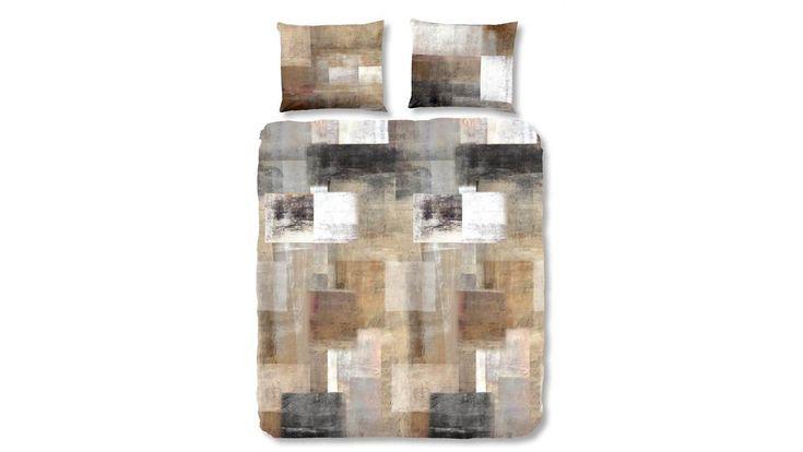 Vintage dekbedovertrek. Dit stoere ontwerp in aardse kleuren is perfect voor in een industriële slaapkamer!