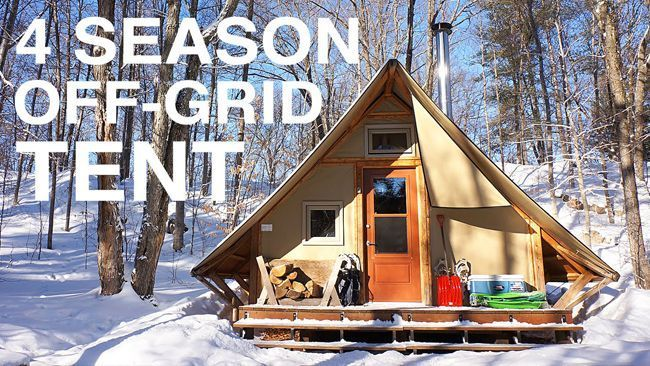 In this video, we give you a tour of a prospector-style, 4-season tent that is completely off-grid. The tent is built with two layers of weather-proof canvas stretched over a wooden frame and is equipped with a double combustion wood stove for heat, a sol