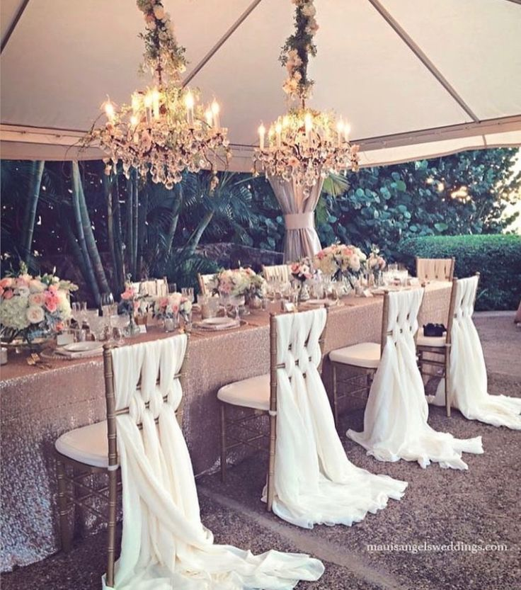 5277 best wedding inspiration images on pinterest cake wedding romantic wedding reception with floral and crystal chandeliers and gorgeous chiffon chair covers junglespirit Image collections