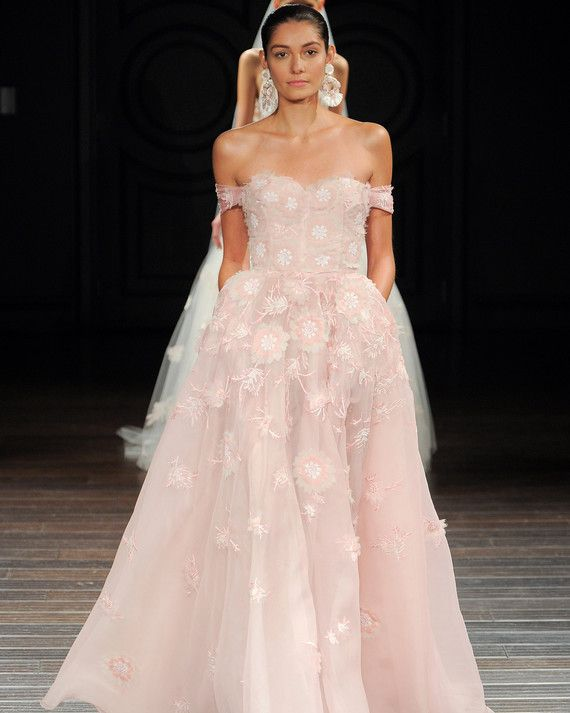 """Monterey""  Blush organza off-the-shoulder ball gown with floral hand-embroidery."