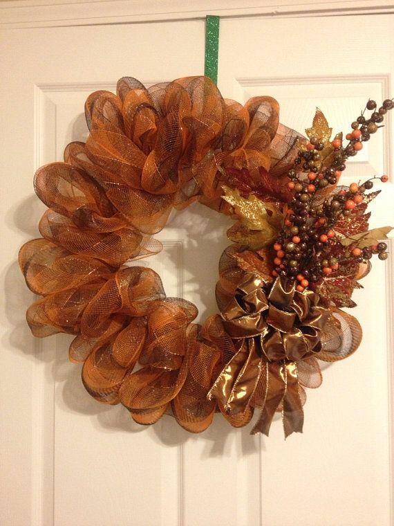 Fall Deco Mesh Wreath by craftingcreations4u on Etsy, $25.00