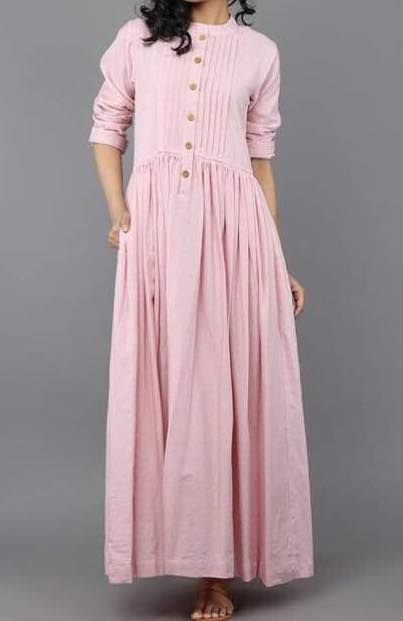 Pintuck buttoned pleated long dress