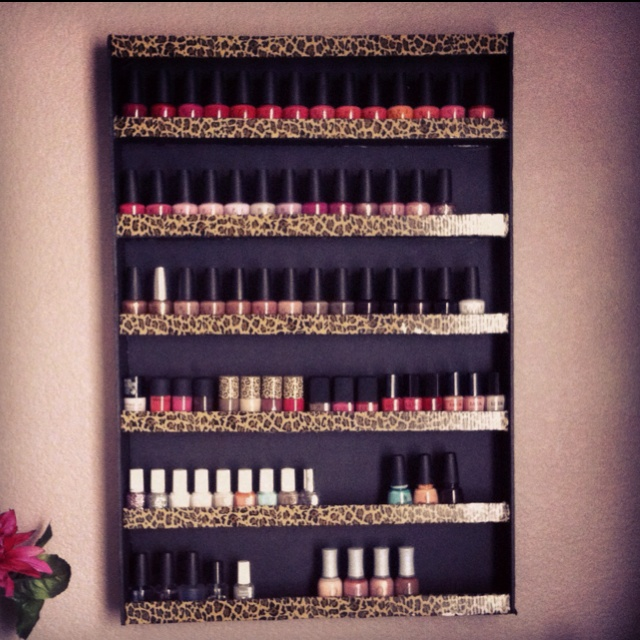 DIY nail polish rack made from foam boards. LOVE!  Hot pink and white zebra with hot pink inside maybe??