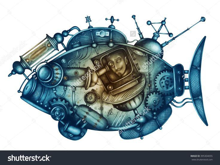 Mechanical Fishs by Eugene Ivanov -  395304055 : Shutterstock. #eugeneivanov #steampunk #science #fiction #fantasy #machinery #victorian #illustration #art #original