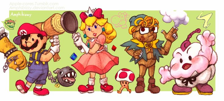 made for Vinnys ( @vinesauce ) mario RPG stream awhile ago! i will take literally any excuse to draw vin late earthbound art an u cant stop me its hard to see but bowsers pokey (Sorta), King is the chain chomp, mobile sprout toad and of course, mr...