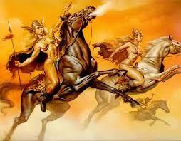 30 – Por eso los soldados germanos no temían la muerte en combate, porque  los que sucumbían, eran recogidos por las Walkirias, diosas guerreras de Odín, que con sus carruajes alados los transportaban al Walhalla.