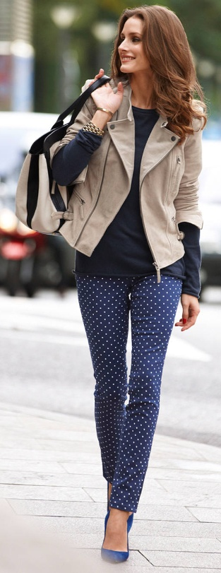 Love a polka dot pant!  Adds interest and fun to the outfit.