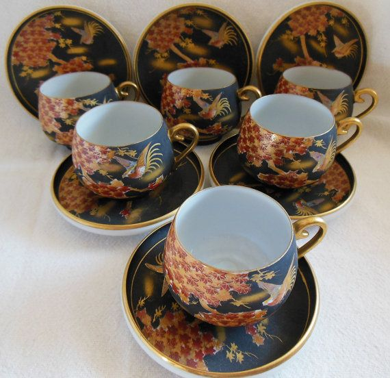 Vintage Japanese Kutani tea cups and saucers for six complete with the transparent geisha