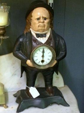 Cast Iron Clock  $125  Butler Creek Antiques Dealer #8804  Lucas Street Antiques 2023 Lucas Dr. Dallas, TX 75219