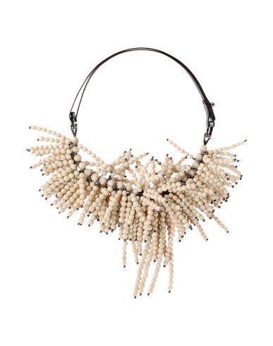 NECKLACE . Composition: Soft Leather, Stone Details: textured leather, two-tone pattern, beaded detailing, contrasting applications, adjustable closure, crew neckline Measurements: Circumference: 13.65 inches  . IVORY