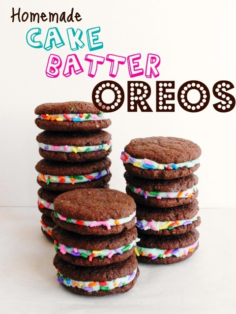 Gonna have to give these a whirl.: Password Stay, Yummy Food, Homemade Cakes, Recipes, Birthday Cookies, Batter Oreo, Cakes Batter Desserts, Cake Batter, Birthday Cakes