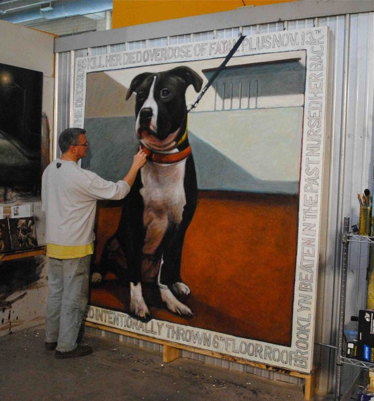 Artist Mark Barone paints the shelter dogs whose stories affect him most deeply on giant 8'X8' canvasses.One of those portraits is dedicated to Oreo, a dog who survived being thrown from a six-story building only to be euthanized in a shelter because the ASPCA determined she was too aggressive.