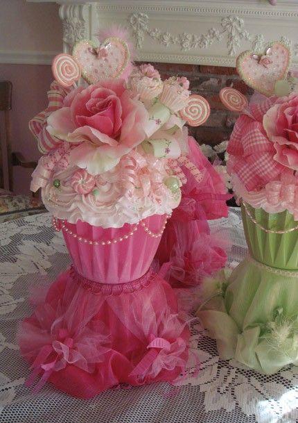 BRIDAL SHOWER CUPCAKE THEME :  wedding decor cupcake theme bridal shower centerpiece original Il 570xN.102379539 1