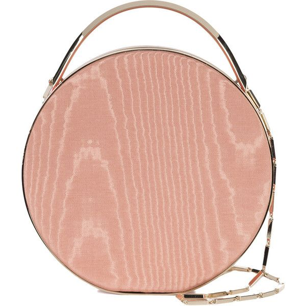 Eddie Borgo mini wood print circle tote ($2,085) ❤ liked on Polyvore featuring bags, handbags, tote bags, mini purse, mini tote handbag, pink tote, print tote bags and red tote bag