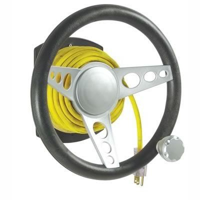 Extension Cord Winder Steering Wheel with Suicide Knob,holds up to 100', wall mount.