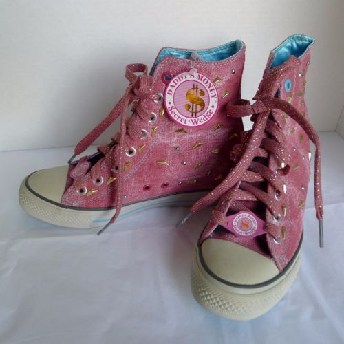 Daddy-Money-Secret-Wedge-Sneakers-High-Tops-Pink-Gold-Studs-Ladies-Sz-8-NWT