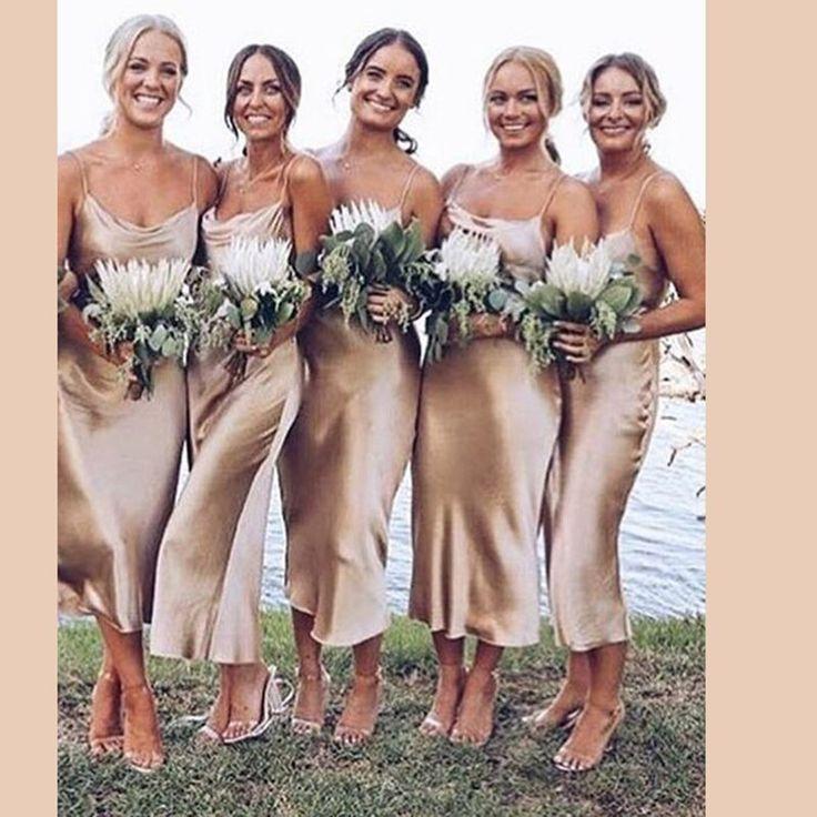 Bridesmaid Dresses 2019 Spaghetti Straps Robe Demoiselle D'honneur Tea-length Dress For Wedding Party Vestido Madrinha
