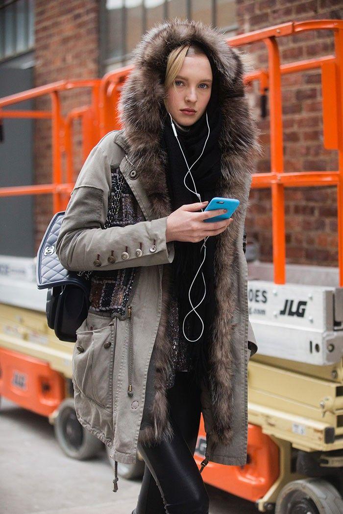 #NastyaSten & her furry hood. #offduty in NYC.