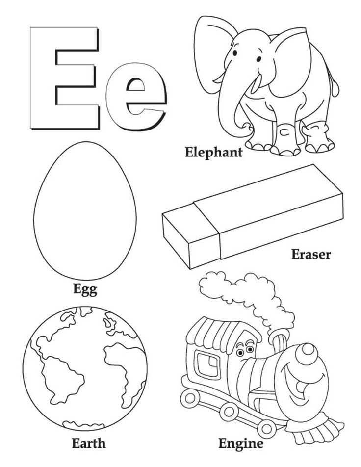Alphabet Coloring Pages Free Words For E In 2020 Abc Coloring
