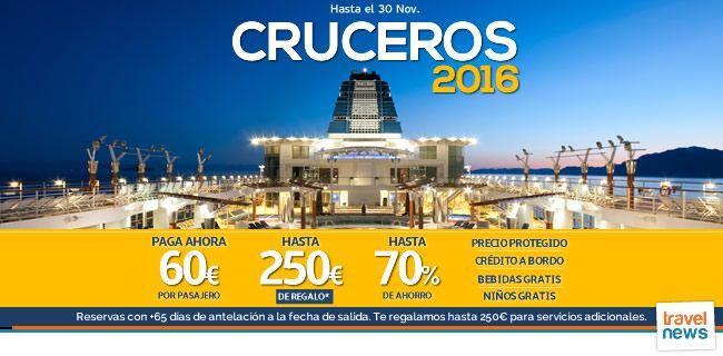 """Ofertas de viajes en www.viajesviaverde.es: Activación campaña """"Venta anticipada Cruceros 2016..."""