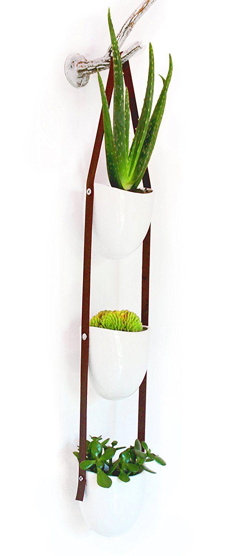 Amazon Com Ceramic Hanging Succulent Planters Flower Pot 3 Piece