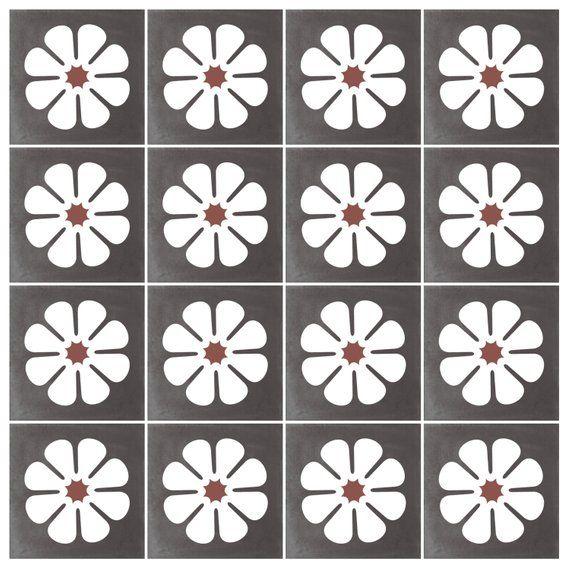Vinyl Floor Tile Sticker - Floor decals - Carreaux Ciment Encaustic
