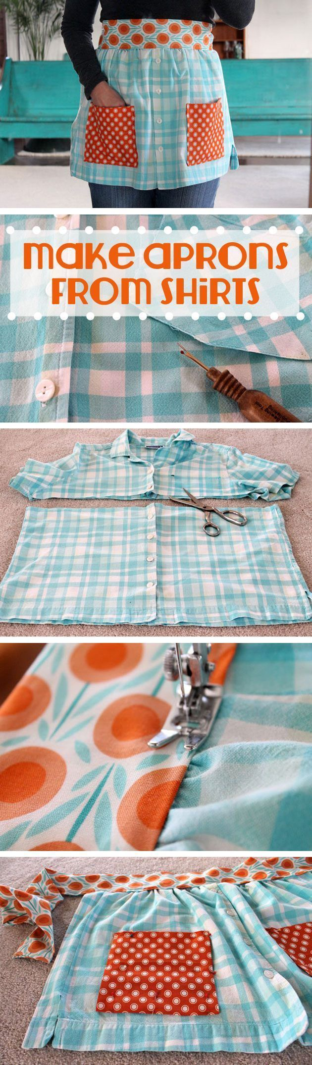 Make an adorable DIY apron from old t-shirts! Beth Huntington has the best ideas for transforming old shirts and things into new, fashion-forward wearable items. This is great for beginner sewers or experienced ones!
