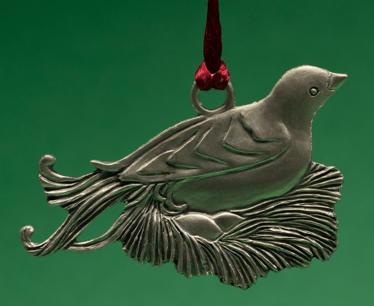 Seagull Pewter Hanging Ornament -- Comfort - Nesting Bird, dated 1995.