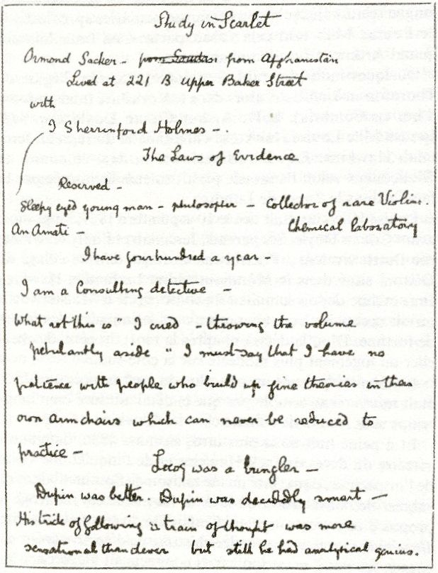 Part of the original draft of the manuscript of A Study in Scarlet - the first Sherlock Holmes book. It mentions Sherlock Holmes' name as 'Sherrinford Holmes' and Watson's as 'Ormond Sacker'!   It also mentions Holmes' address as 221 B Upper Baker Street!