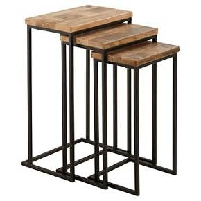 Maximize your space while elevating your style with the Marxim nesting end tables. Rustic tabletops crafted of solid mango wood are supported by tubular metal bases in matte black. Together they showcase how clean-lined design and earthy elements make a striking pair.  Signature Design by Ashley is a registered trademark of Ashley Furniture Industries, Inc.