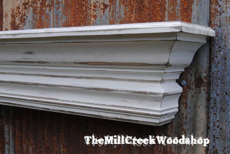 Distressed Wall Shelf 60 Quot Fireplace Mantel Farmhouse