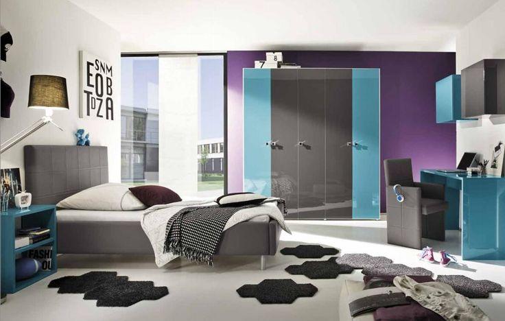 Cameretta singola completa colore turchese e antracite idelshop.com #bedroom