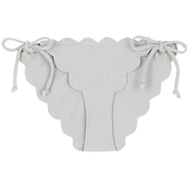 Marysia 'Mott' scalloped edge bikini bottoms ($180) ❤ liked on Polyvore featuring swimwear, bikinis, bikini bottoms, grey, scalloped bikini, summer bikini, bottom bikini, bikini bottom swimwear and marysia swim