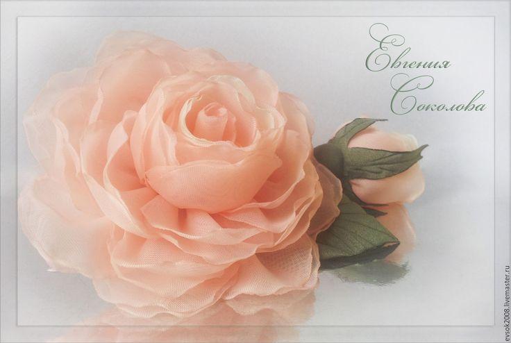 Купить Брошь Розы Нежный персик - свадебные аксессуары, свадебное украшение, свадебные украшения