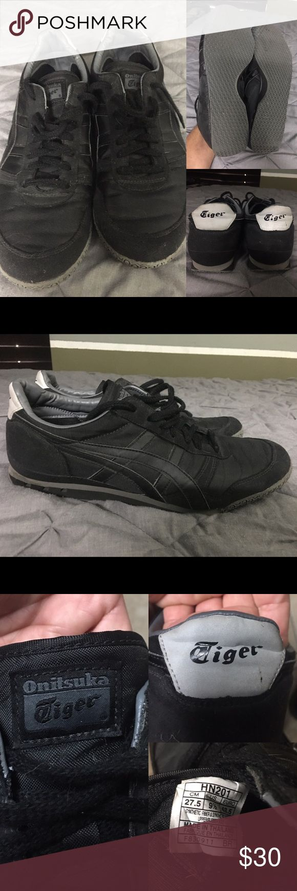 Asics Onitsuka black Tiger retro sneakers For sale! Black on Black Asics Onitsuka Tiger retro style sneakers 👟 worn very few times. Soles and inside of shoes are in near excellent condition. These are a rare combo of colors. Very comfortable. Onitsuka Tiger by Asics Shoes Sneakers