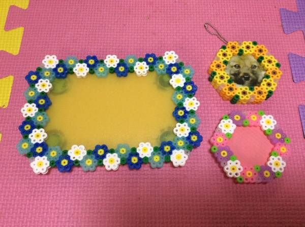 Floral photo frames perler beads