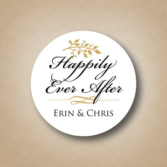Happily Ever After Wedding Stickers Wedding Favor Tags Custom Wedding Favor Labels Personalized Favors Gold wedding Favor Ideas Fall wedding