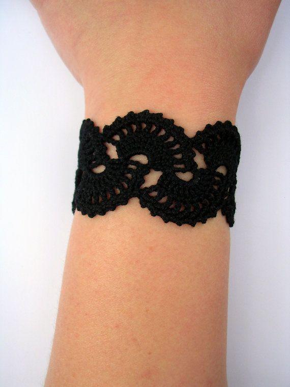 Handmade Crochet Bracelet Queen Anne's Lace  Black by Sunchasing, $20.00