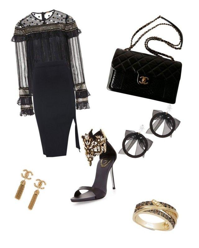 """Gold &Black"" by extravagantf on Polyvore featuring Dodo Bar Or, René Caovilla, LE VIAN, Chanel and Fallon"