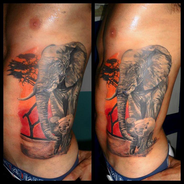 Elephants by Tulipan in Salvador Tattoo & Art in Marbella, Spain