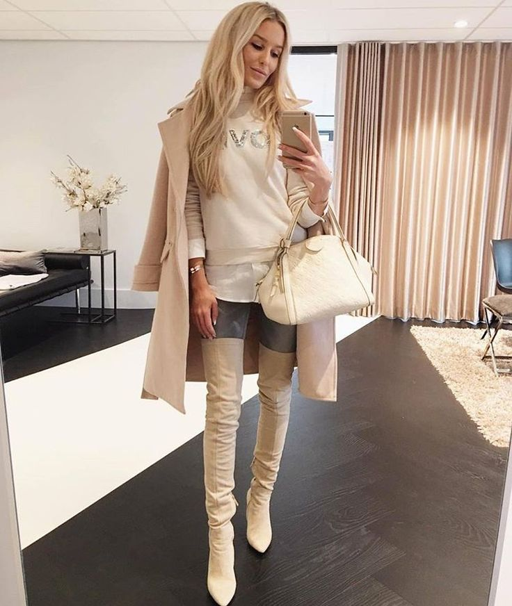 Creme suede thigh high boots
