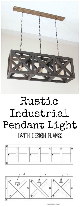 Rustic Industrial Pendant Light - free design plans for this beautiful DIY light fixture!!