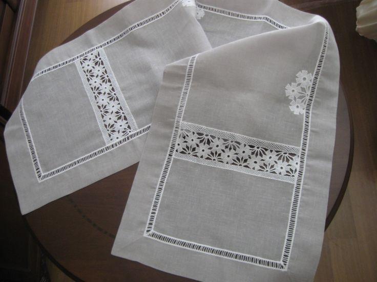 lacework & linen tablerunner