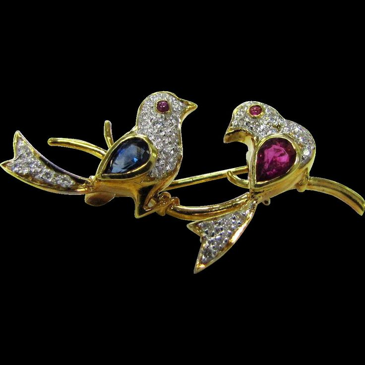 Estate Art Deco European 18 Karat Yellow Gold Lovebirds Brooch with Sapphire's, Rubies and Diamonds!!!! by QueenVicsEstate on Etsy