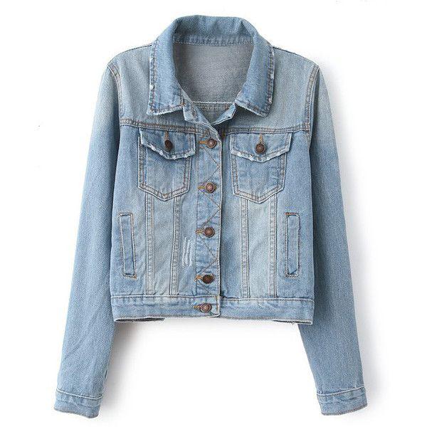 Four Pockets Light Blue Faded Denim Jacket found on Polyvore