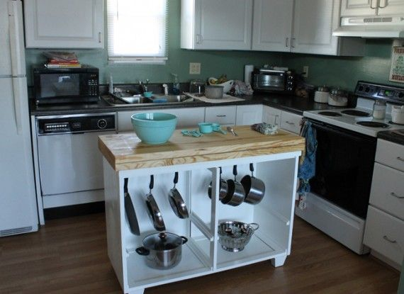 Upcycle an old dresser as a kitchen island for organization! (via @BrightNest)