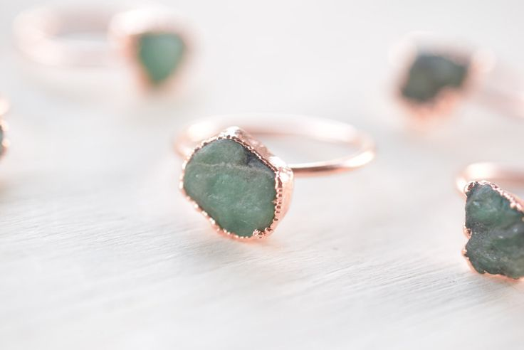 Emerald ring - Raw Emerald ring - Rough Emerald ring - May birthstone - Crystal ring - Rough stone ring - Boho ring - Raw stone ring by FEATHEROAK on Etsy https://www.etsy.com/no-en/listing/461211842/emerald-ring-raw-emerald-ring-rough