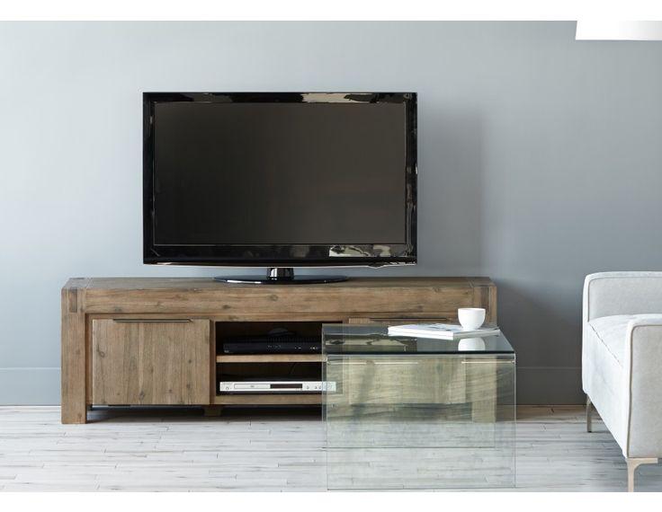 HAMBURG - Meuble télé en bois d'acacia massif - Gris