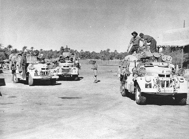 "Description English: Trucks of the en:Long Range Desert Group. Heavily laden 30 cwt 1533x2 Chevrolets of R1 Patrol setting out from en:Jalo oasis in Libya, circa 1942. In the foreground is ""R4"" Rotowaro W.D.no. L4618912. en:Category:Groups of World War II en:Category:Special forces of New Zealand en:Category:Special forces units and formations en:Category:Military units and formations established in 1940 en:fr:Long Range Desert Group  en:it:Long Range Desert Group File:R 4.jpg"