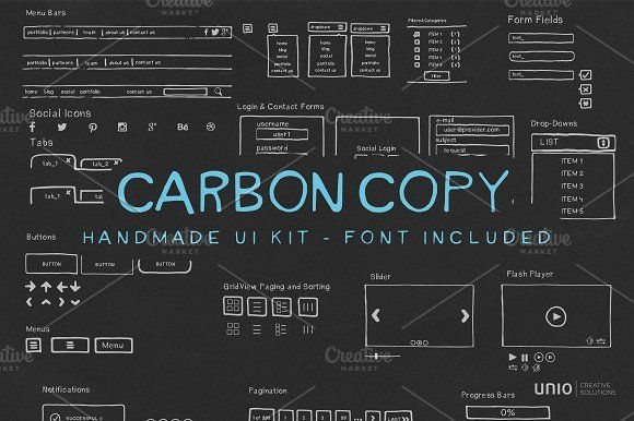 Carbon Copy - Handmade UI Kit by Unio | Creative Solutions on @creativemarket